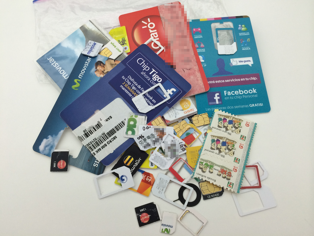Collection of SIM cards used by the LINE Fellowship