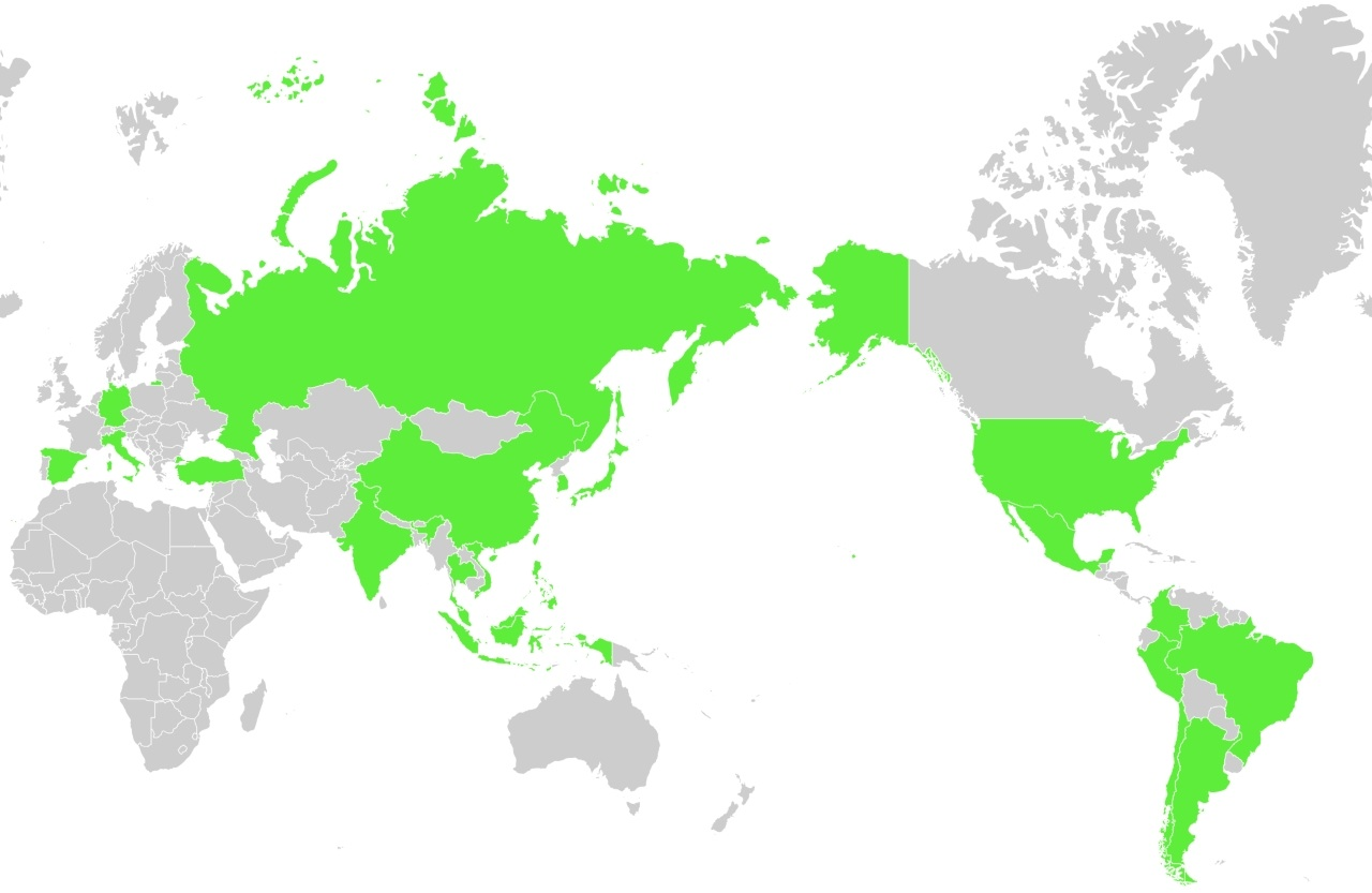 Countries visited by the LINE Fellowship