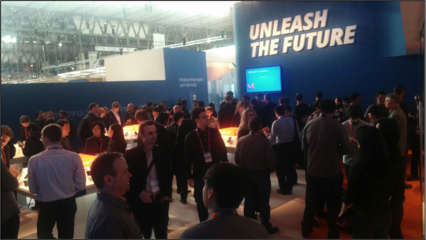 The Mozilla booth at MWC being overrun with visitors